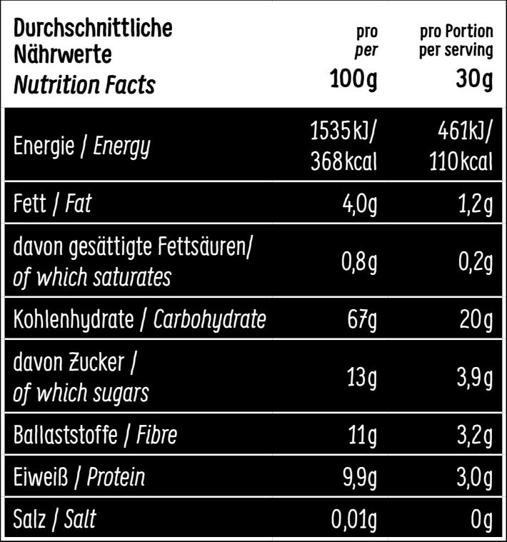 Nährwerttabelle Choco-licious